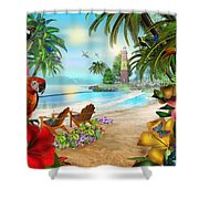 Island Of Palms Shower Curtain