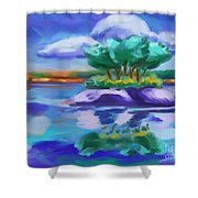 Island On The Lake Shower Curtain