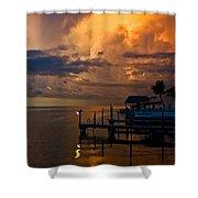 Tropical Island Storm Over Florida Keys Docks Shower Curtain