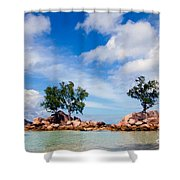 Islands And Clouds, The Seychelles Shower Curtain