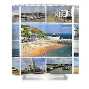 Isle Of Wight Collage - Labelled Shower Curtain
