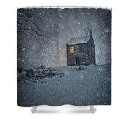 Isolated Creepy House Shower Curtain