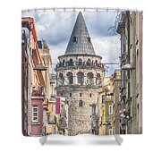 Istanbul Galata Tower Shower Curtain by Antony McAulay