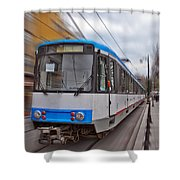 Istanbul Tram In Motion Shower Curtain