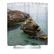 It Rocks 2 - Close To Son Bou Beach And San Tomas Beach Menorca Scupted Rocks And Turquoise Water Shower Curtain