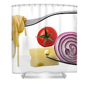 Italian Food Ingredients On Forks Against White Shower Curtain