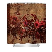 Italian Impasto Style Coral Floral Branch Shower Curtain