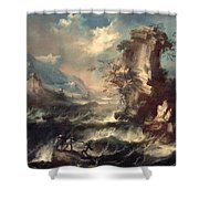 Italian Seascape With Rocks And Figures Shower Curtain by Marco Ricci