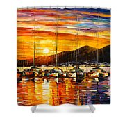 Italy Naples Harbor Shower Curtain