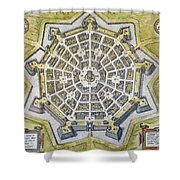 Italy: Palmanova Map, 1598 Shower Curtain