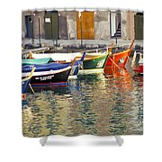 Italy Portofino Colorful Boats Of Portofino Shower Curtain