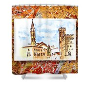 Italy Sketches Florence Towers Shower Curtain