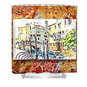 Italy Sketches Venice Canale Shower Curtain