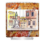 Italy Sketches Venice Piazza Shower Curtain