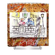 Italy Sketches Venice Two Gondoliers Shower Curtain