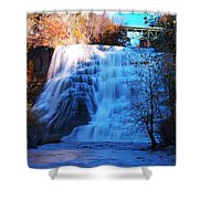 Ithaca Water Falls New York Panoramic Photography Shower Curtain