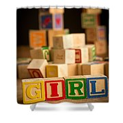 Its A Girl - Alphabet Blocks Shower Curtain