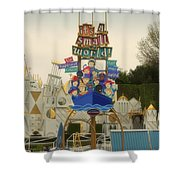 Its A Small World Fantasyland Signage Disneyland Shower Curtain