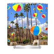 Its Raining Beach Balls Palm Springs Shower Curtain