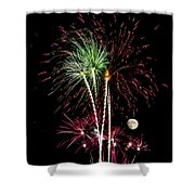 Its Raining Red Drops On The Red Flowers - Fireworks And Moon Shower Curtain