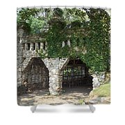 Ivy Covered Stone Wall Shower Curtain