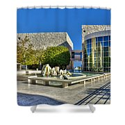 J. Paul Getty Museum Courtyard Fountains Blue Veined Marble Boulders Sculpture Shower Curtain