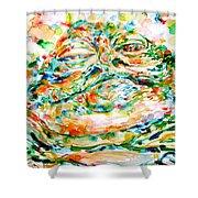 Jabba The Hutt Watercolor Portrait Shower Curtain