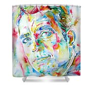 Jack Kerouac Portrait.1 Shower Curtain by Fabrizio Cassetta