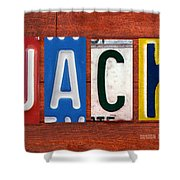 Jack License Plate Name Sign Fun Kid Room Decor Shower Curtain