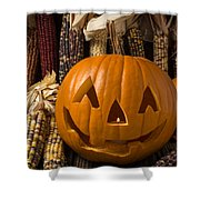 Jack-o-lantern And Indian Corn  Shower Curtain