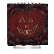 Jack O Lantern Set On A Dark Background With Glowing Flame Shower Curtain