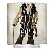 Jack Sparrow Inspired Pirates Of The Caribbean Typographic Poster Shower Curtain by Ayse Deniz