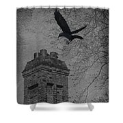 Jackdaw Flying To Chimney Shower Curtain