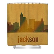 Jackson Mississippi City Skyline Watercolor On Parchment Shower Curtain
