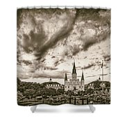 Jackson Square And St. Louis Cathedral In Black And White - New Orleans Louisiana Shower Curtain