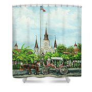Jackson Square Carriage Shower Curtain by Dianne Parks