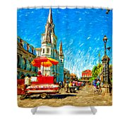 Jackson Square Painted Version Shower Curtain