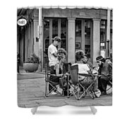 Jackson Square Reading 2 Bw Shower Curtain