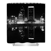 Jacksonille Black And White Night Shower Curtain
