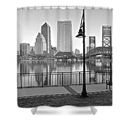 Jacksonville Black And White Ay Shower Curtain