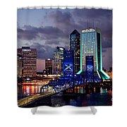 Jacksonville Skyline At Dusk Shower Curtain