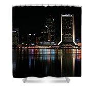 Jacksonville Skyline At Night Shower Curtain by Georgia Fowler