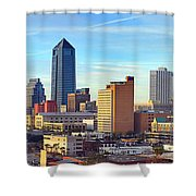 Jacksonville Skyline Morning Day Color Panorama Florida Shower Curtain