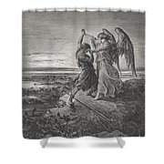 Jacob Wrestling With The Angel Shower Curtain by Gustave Dore