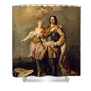 Peter I With Minerva With The Allegorical Figure Of Glory Shower Curtain