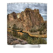 Jagged Peaks And River Reflections Shower Curtain