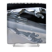 Jaguar Car Hood Ornament Reflection Shower Curtain