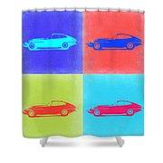 Jaguar E Type Pop Art 2 Shower Curtain by Naxart Studio