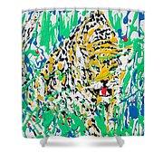 Jaguar - Enamels Painting Shower Curtain