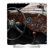Jaguar Odtimer Steering Wheel Shower Curtain